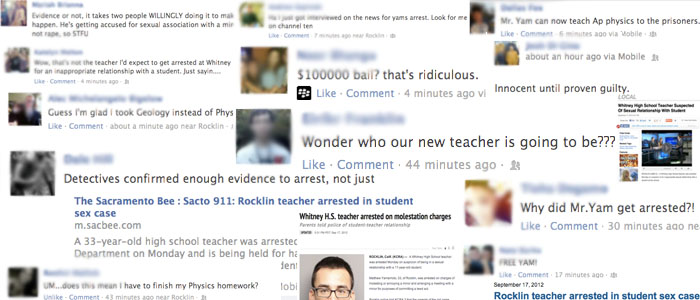 Screenshots of articles and Facebook posts regarding the arrest. Photo illustration by ILAF ESUF