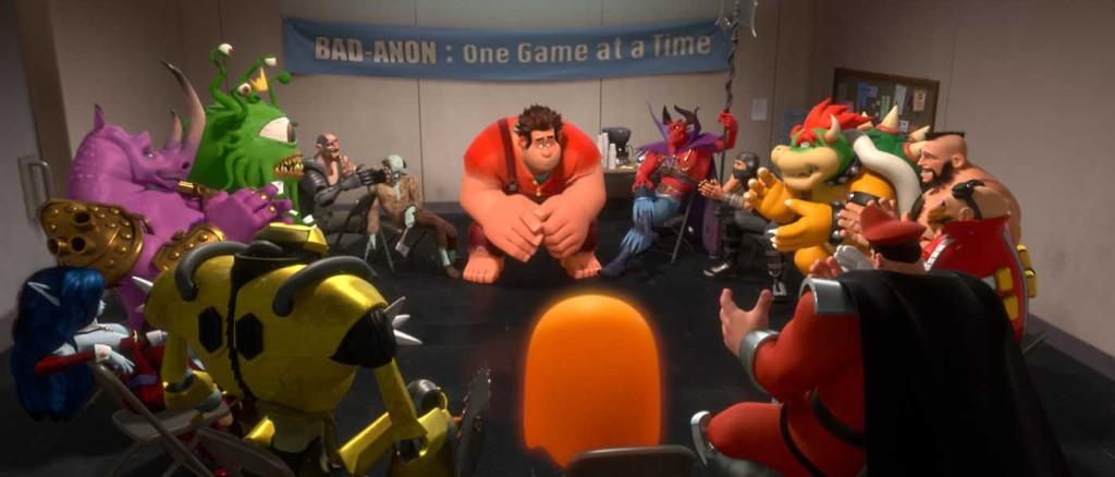 Wreck It Ralph (John C. Reilly) is at a bad guys support group meeting. Photo from