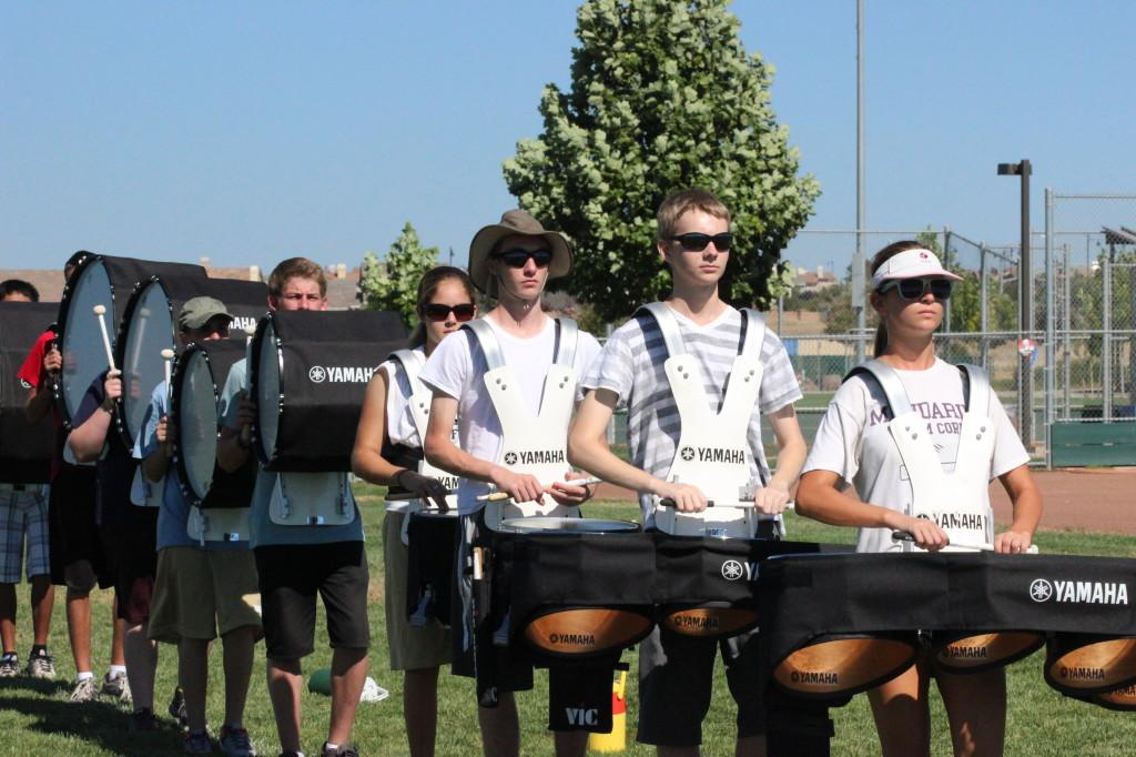 Drum line works on their marching technique PHOTO BY OLIVIA GRAHL
