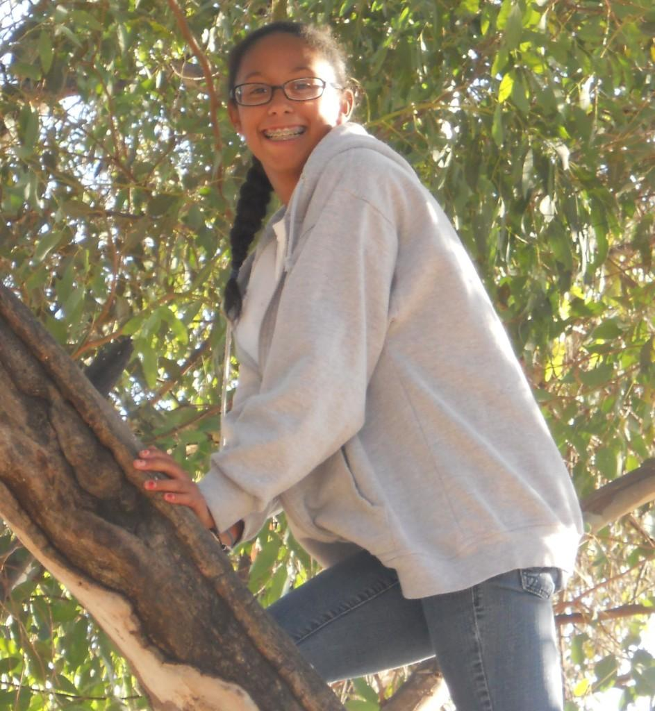 Cailee King perches on a tree on Oct. 19. Photo by NOREEN KING