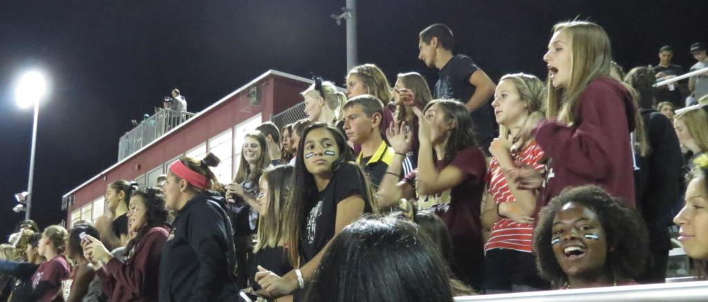 Student section cheers on the football team. Photo taken on Oct. 18.