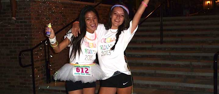 Sierra Young and Isabella Lasmarias after Glow Run on Oct 5. Photo by JULIE YOUNG.