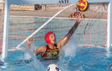 JV goalie Kat Buisson reaches out to stop a goal from Rocklin High School on Sept. 9. Photo by ELLE HSU