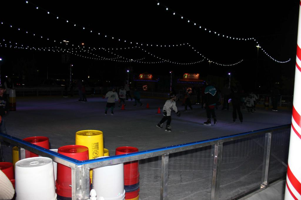 Skaters use the new outdoor ice rink on opening night. Photo by CARSEN VAN DER LINDEN