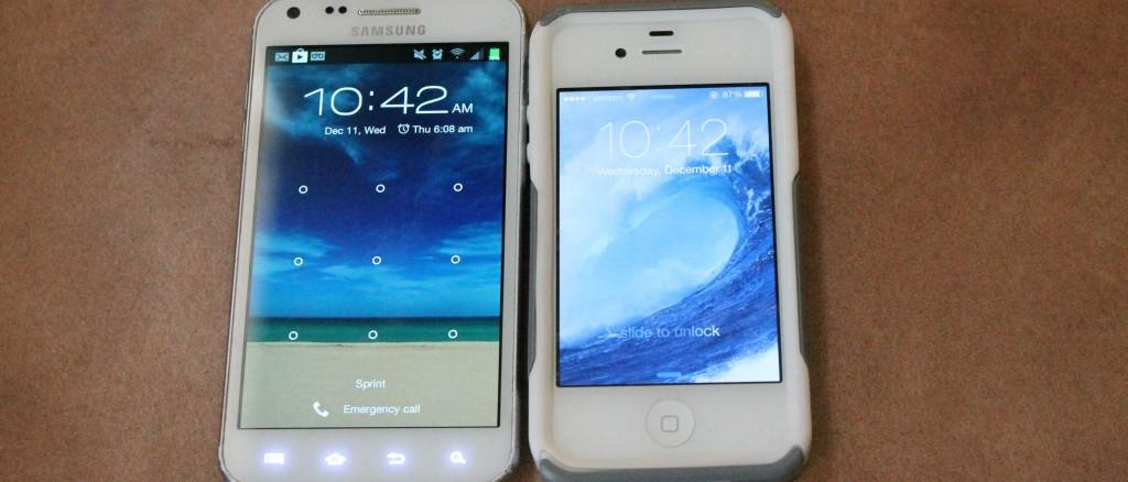 Updated iPhone is compared to standard Android; obvious similarities are shown.  Photo By KOLETTE KING