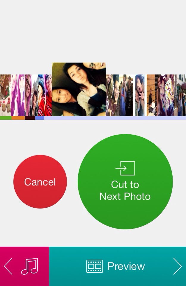 Photo timing stage of the video-slideshow process in PicFlow