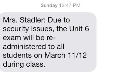 Remind 101 text informing students of the test retake. Screenshot by KAVLEEN SINGH