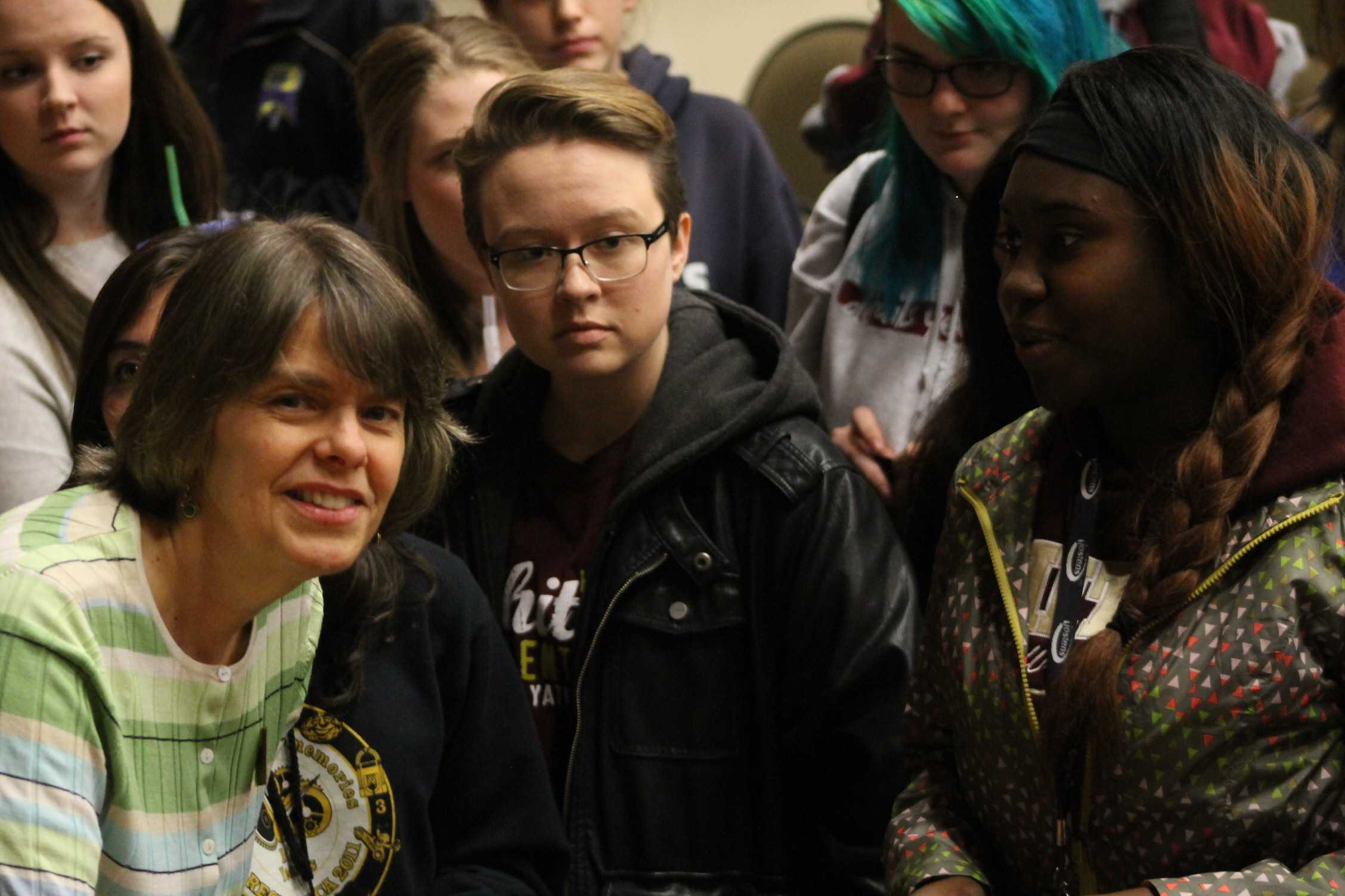 Mary Beth Tinker meets with students after her presentation. Photo by OLIVIA GRAHL