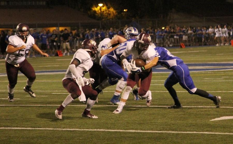 Zach Sclater and Jared Wilson rush to help teammate get past Rocklin defenders. Photo by Jill Holt.