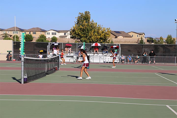 Girl's tennis against Antelope in their sixth game of the season.