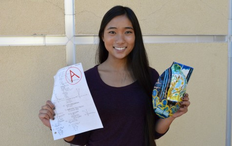 Art student Caeli Solis holds up her painted mask and graded homework. Photo illustration by Rachel Marquardt.