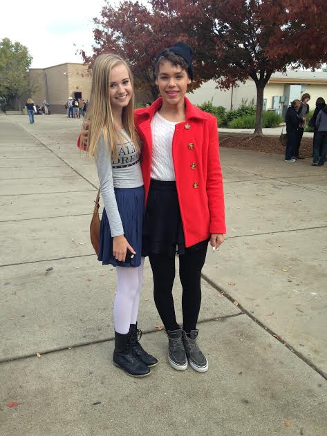 Lincoln High School freshmen Michael McCracken and Audrie Wilson wear skirts to school to support freedom of expression among LGBT youth.