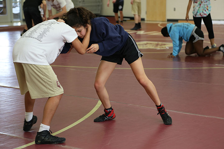 Andrea+Estrada+at+wrestling+practice.%0APhoto+by+Kavya+Singh