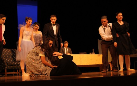 Theatre students practice on stage for the Lenaea Theatre Festival.