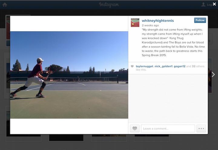 Whitney tennis team's Instagram post.