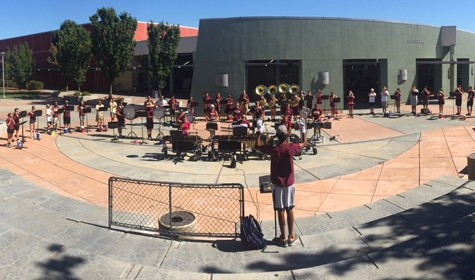 On Aug. 14, marching band rehearses at band camp for their first recital. Photo by Rachel Marquardt