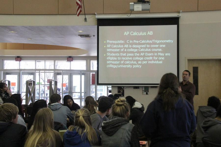 Mr. Joel Williams presents an overview of AP Calculus AB to students. Photo by Supraja Srinivasan