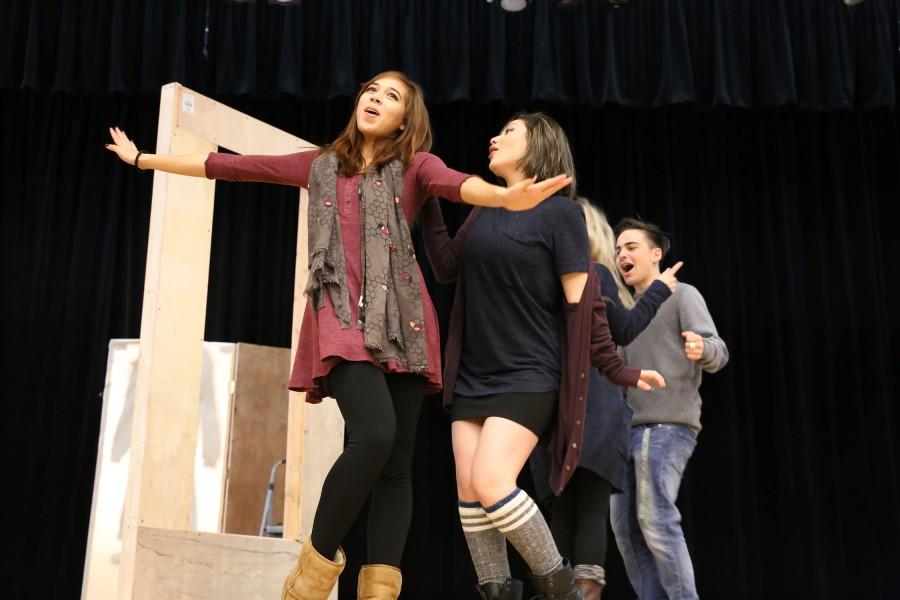Kayla Duffey and Samantha Raey-Gonzales rehearse for 'Thoroughly Modern Millie.' Photo by Kayla Hung