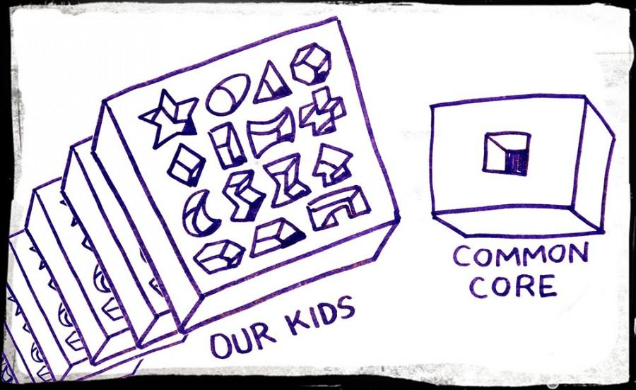 A cartoon showing the uniqueness of children compared to the ordinary and bland common core standard depiction.