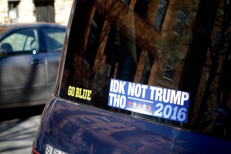 Bumper car sticker of slogan 'IDK not Trump Tho'. Photo by nevermindtheend (CC0)