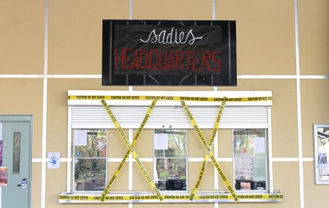 Student store is decorated to fit suspect profiling theme. Photo by Sierra Young