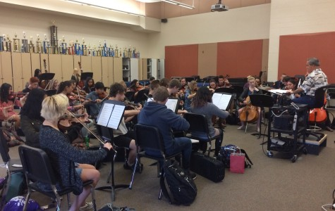 Orchestra rehearses for Mega Concert