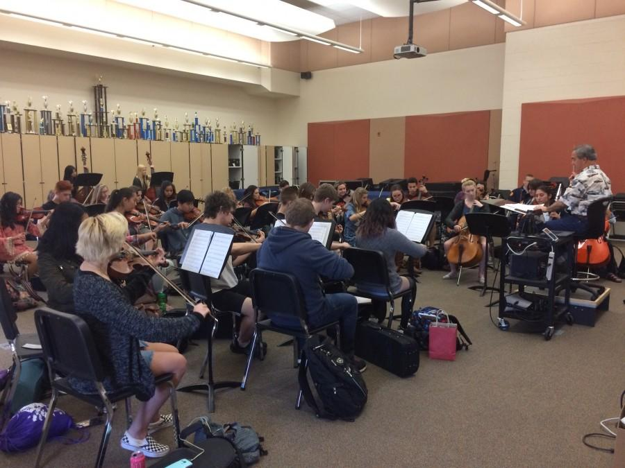 Orchestra practices for Mega Concert. Photo by Kacie Nicholson
