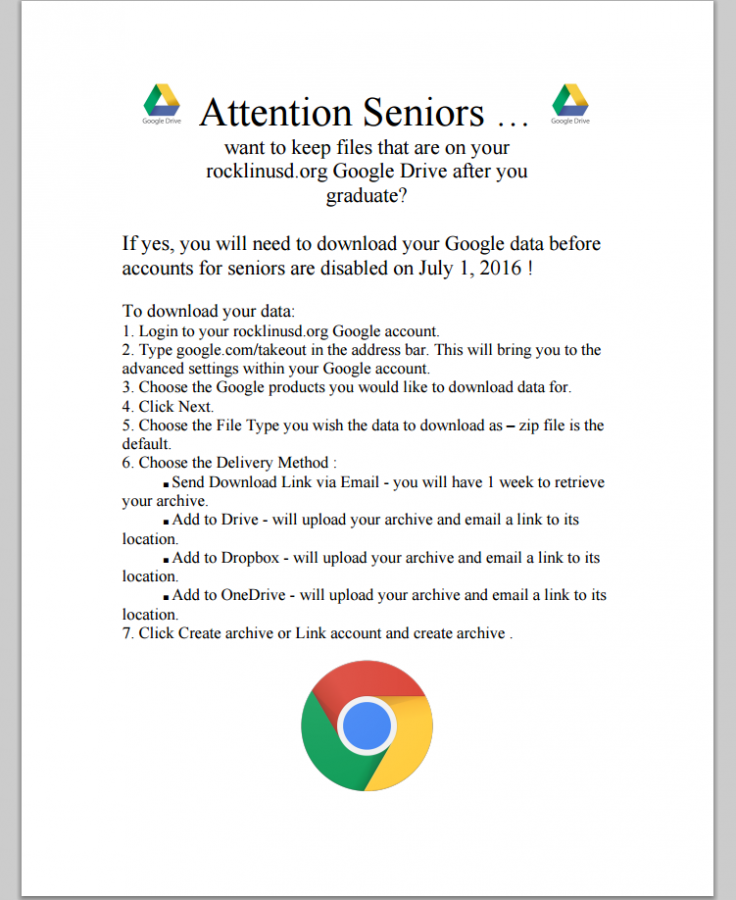 A screenshot of a flyer containing the steps to save files of off Google Drive. Photo by Sarah Martinez