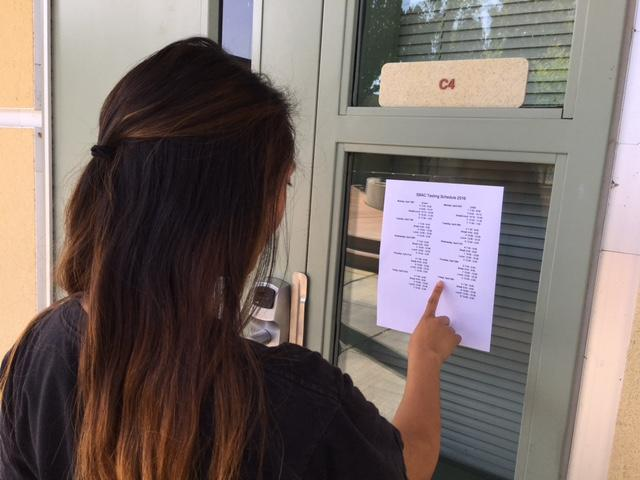 Sarah Martinez checks the SBAC testing schedule on April 13. Photo by Olivia Grahl