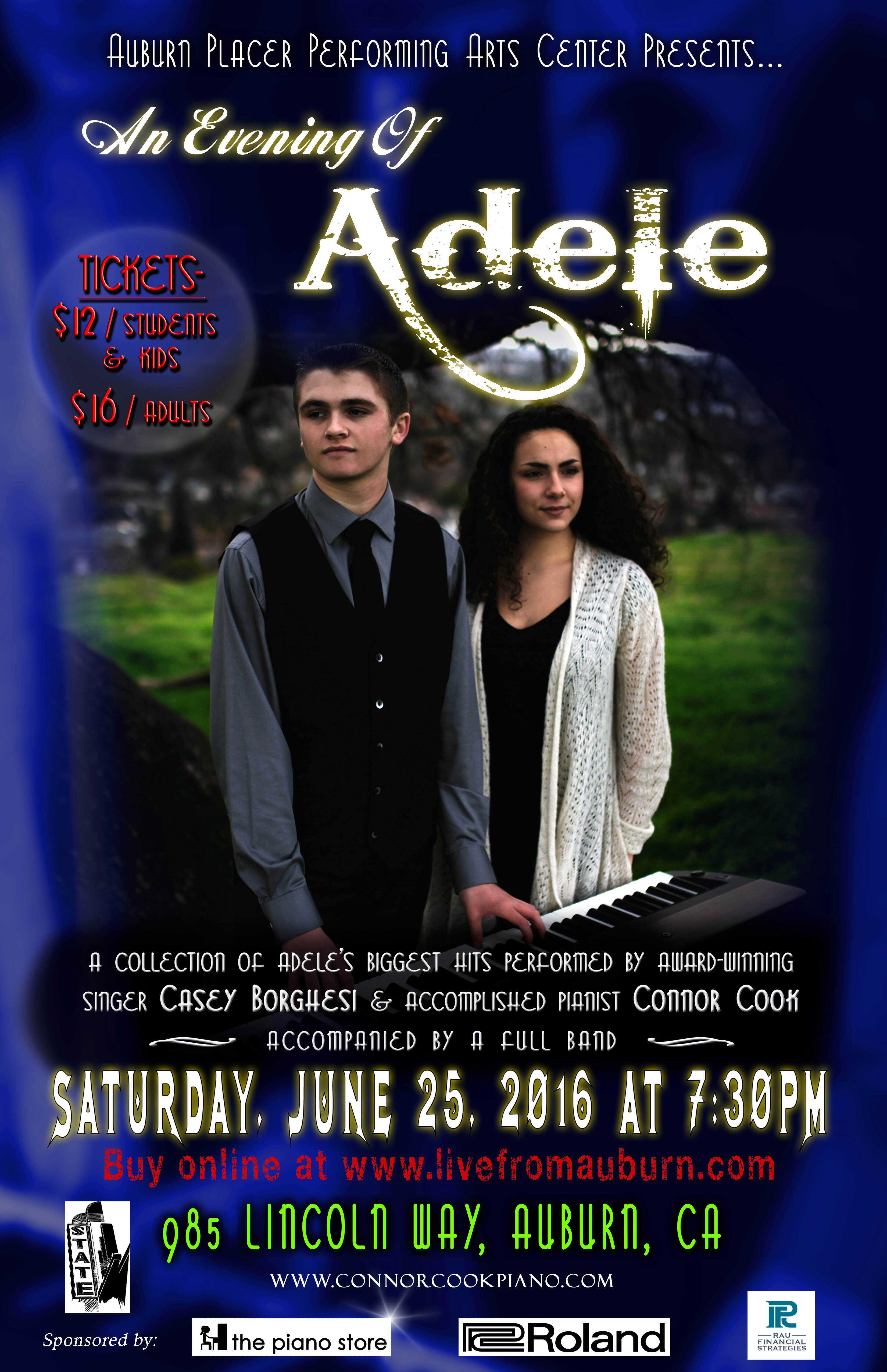 casey borghesi and connor cook to perform an evening of adele