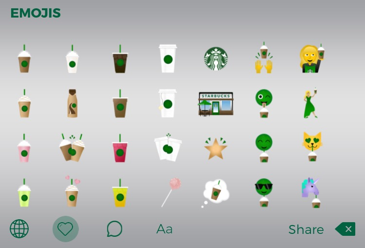 The new Starbucks keyboard has a variety of emojis such as lattes, the company logo and cake pops. Photo by Missie Caracut