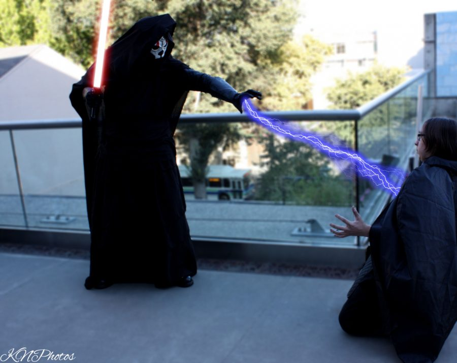 Shane Leone (left) and Coby Bousman (right) pose in their cosplays as Darth Nihilus and a jedi from Star Wars at Sacanime Summer 2015. Photo by K. Nicholson
