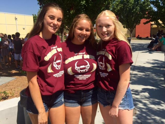Jessica Rose, Morgan Tidwell and Amanda Goetzd wear their offical Quarry Bowl shirts for the freshmen Quarry Bowl game. Photo by Rachel Marquardt