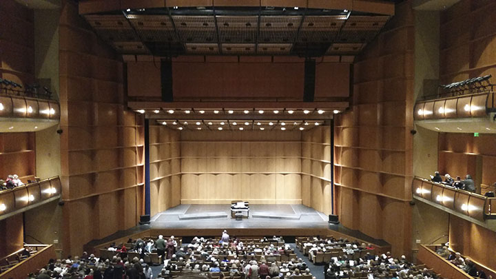 A shot of the Berkeley Mondavi Center before the choir comes on stage. Photo by Sylvester Jung.