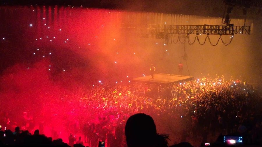 A view of Kanye West performing in the Golden One Center. Photo by Carina Pasquale.
