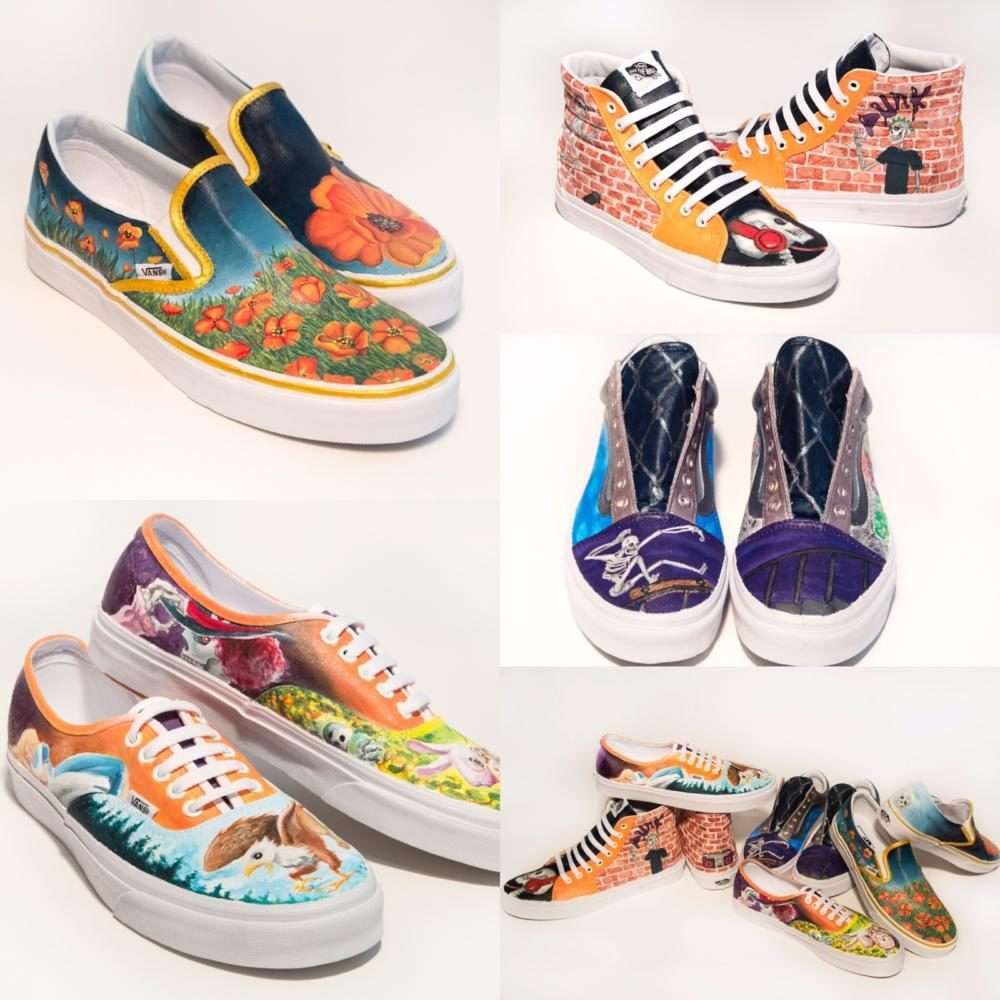 These+are+the+four+pairs+of+shoes+designed+and+created+for+the+Vans+Custom+Culture+contest%2C+photo+provided+by+Kailee+Hargis.