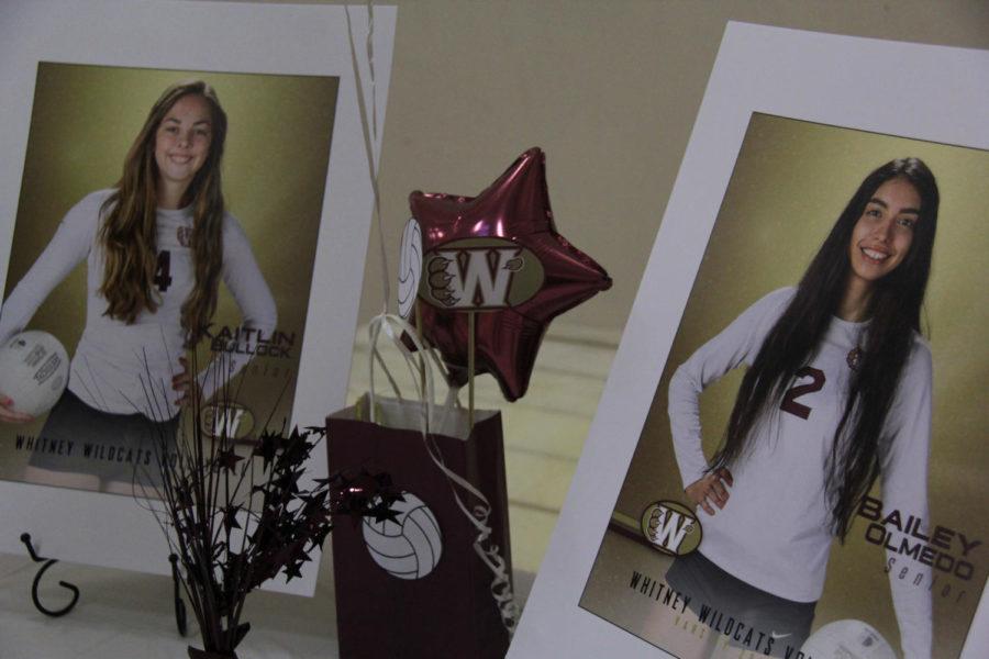 Womens volleyball Senior Night recognizes Kaitlin Bullock and Bailey Olmedo.