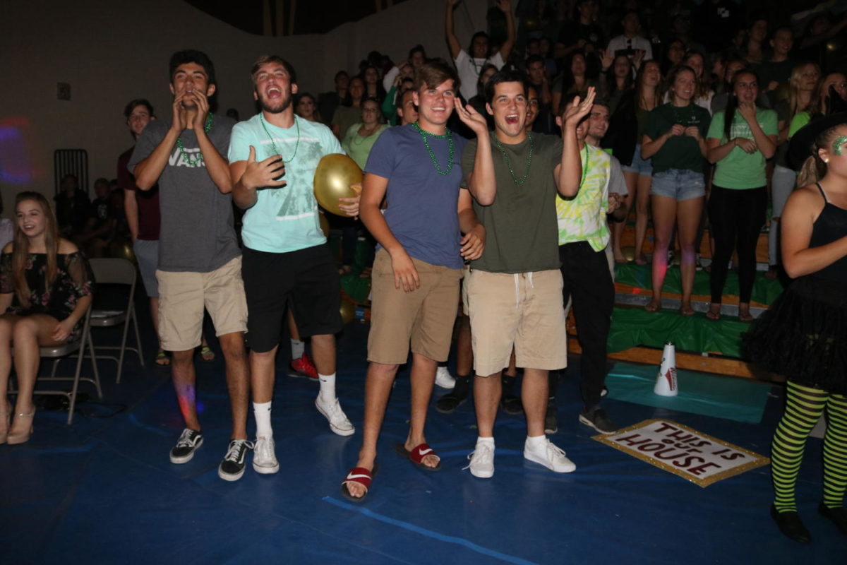 The senior section cheers as they are announced as Second place.
