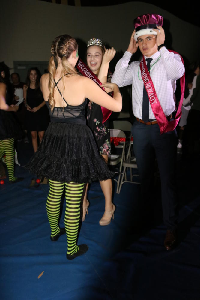 Ending the night, Sara Strandberg crowns Brynn Blatnick and Justin Kraft for Homecoming Queen and King.