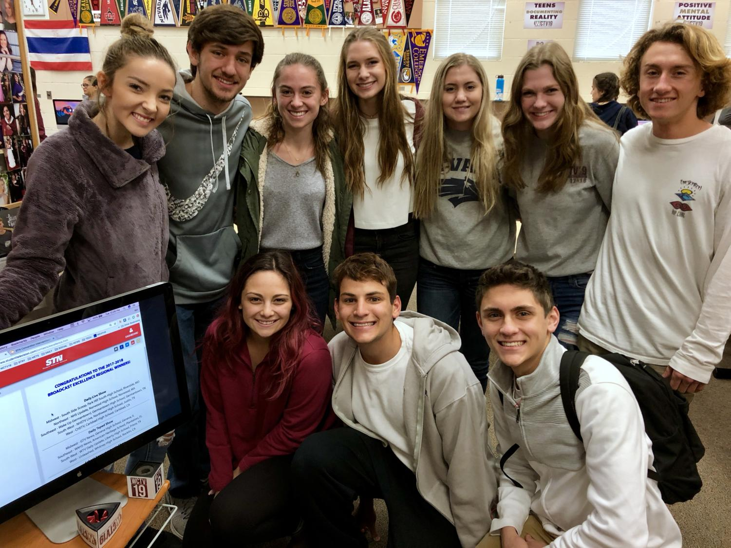 In Mr. Ben Barnholdt's broadcast class, the leadership staff celebrates finding out they will be eligible to partake in a national competition Jan. 23. Photo by Mr. Ben Barnholdt.