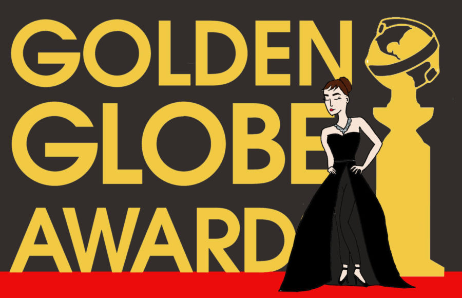 One of the stars that chose to adhere to the Golden Globes' unofficial black dress code was Alison Brie, who wore a ball gown with pants underneath. Illustration by Izzie Bartholomew.