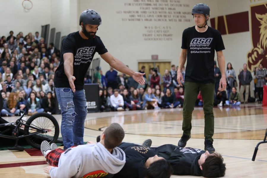 Professional BMX riders perform to promote bully prevention