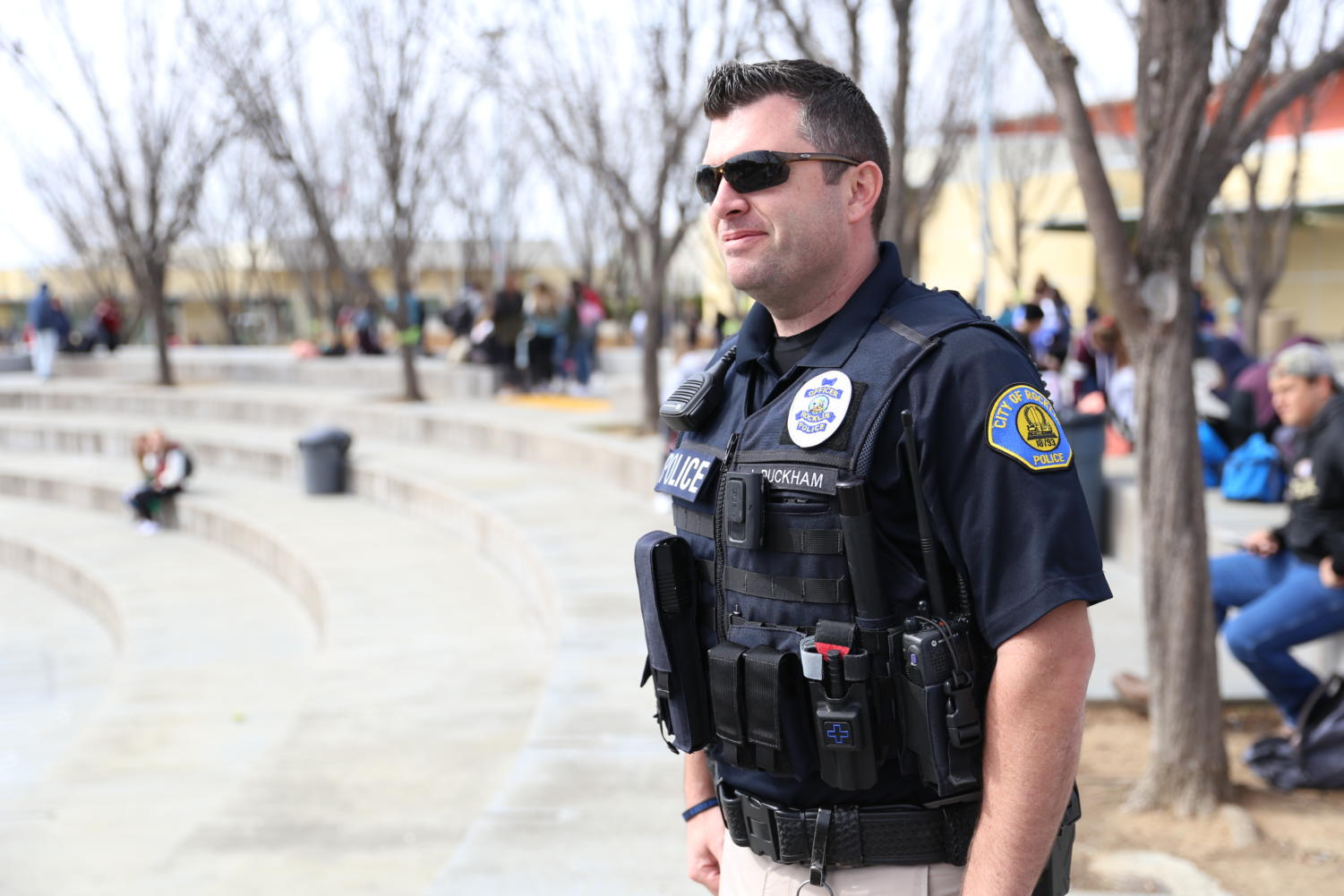 At intervention, Rocklin Police Department Officer Duckham patrols the amphitheater. Photo by Britney Flint