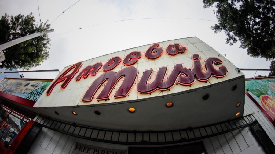 During their first day in San Francisco, students visit the famous Amoeba Music. Photo by Coleton Matics.