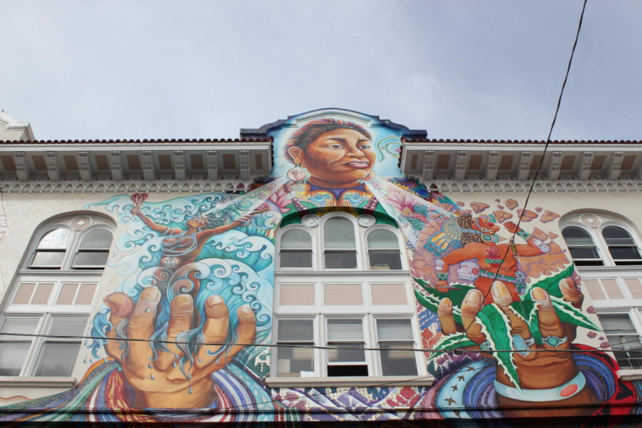 On the exterior of the Women's Building, multiple murals display versions of female empowerment aimed to provide a safe space for women of all backgrounds. Photo by Kierra Gunn.