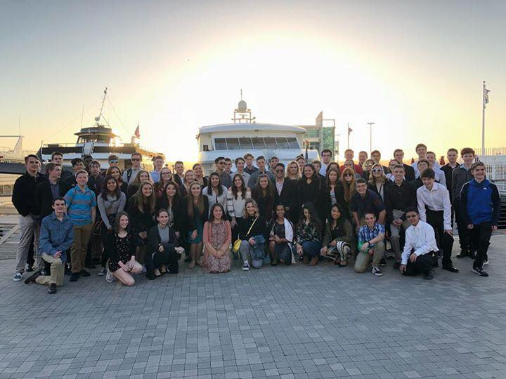 Band students pose before boarding a boat for a dinner cruise April 20. Photo by Kris Harper