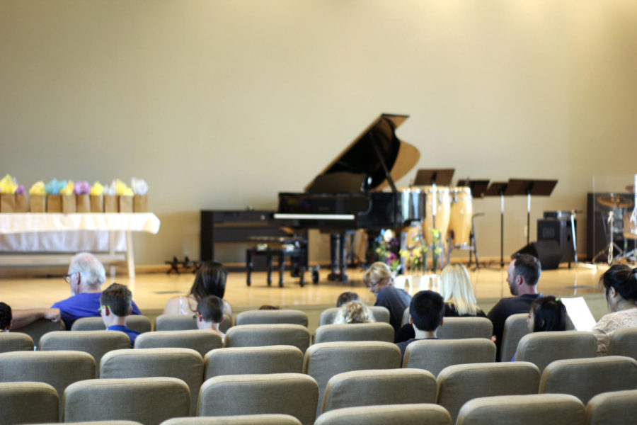AWAITING THE KEYS. Before the piano recital begins at the Granite Springs Church located in Lincoln, students and families gather together to take a seat before its commencement. This was the first of two piano recitals, both under the direction of Janice Smith, occurring that day on April 22.
