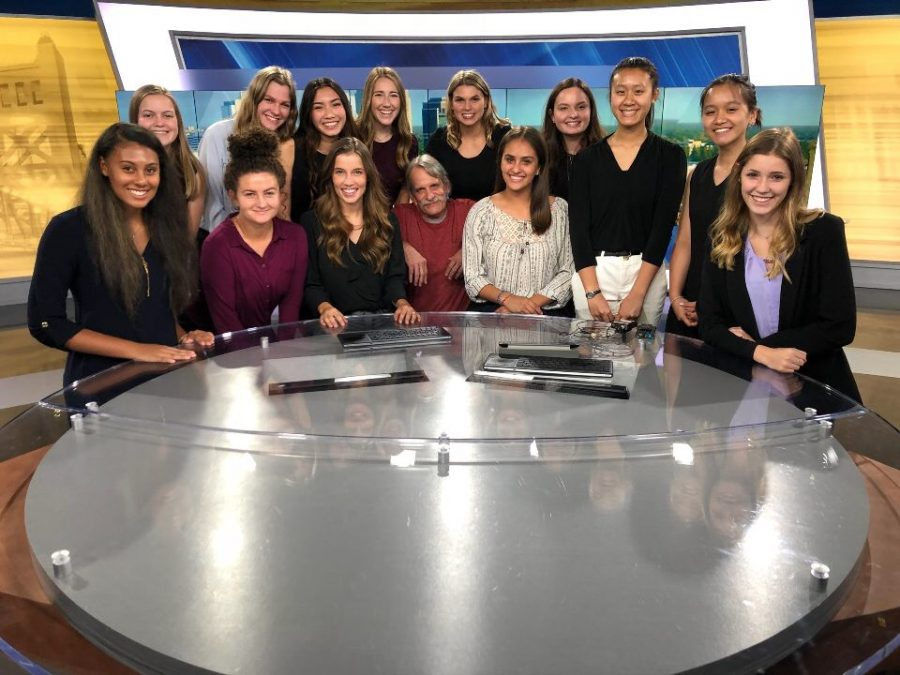 While visiting KCRA 3, broadcast students pose with cameraman Bob Wuchenich. They visited the Sacramento-based studio Aug. 7 from 5-8 p.m. to gain experience with how a professional news show operates.  Photo by Mr. Ben Barnholdt.