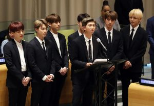 At United Nations headquarters Sept. 24, BTS leader RM makes a speech of self-love and education. The United Nations hosted a conference for representing the charity campaign UNICEF.