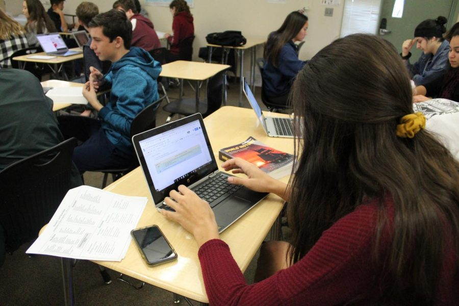 During Mrs. Leah Seabrook-Rocha's second period class, Sydney Johnson works on her latest assignment utilizing the AMSCO textbook and her unit overview sheet. Photo by Daya Khunkhun.